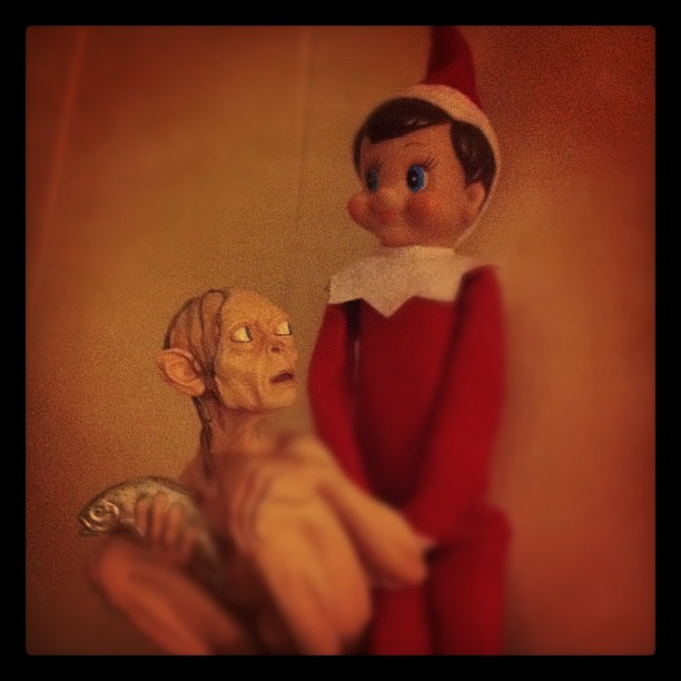 Gollum does not trust the Elf on the Shelf