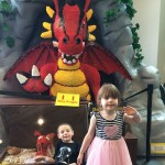 Kids with a Lego Dragon